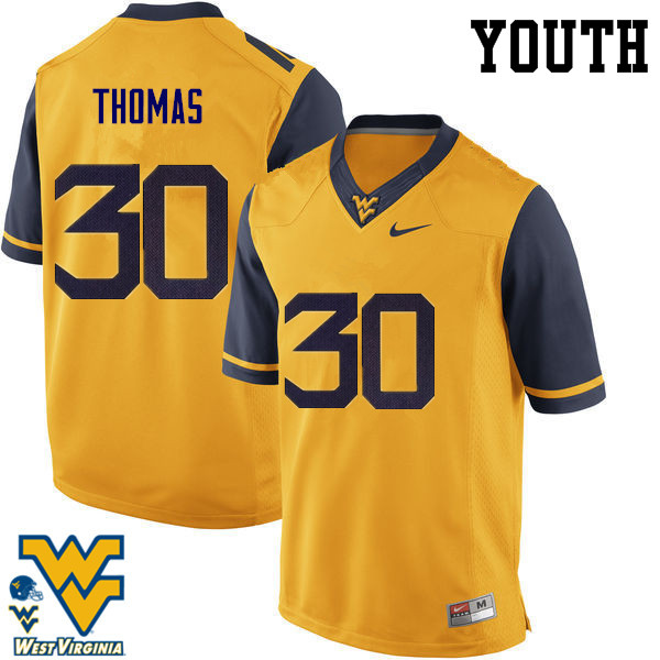 Youth #30 J.T. Thomas West Virginia Mountaineers College Football Jerseys-Gold