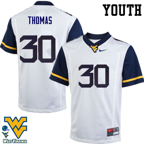 Youth #30 J.T. Thomas West Virginia Mountaineers College Football Jerseys-White