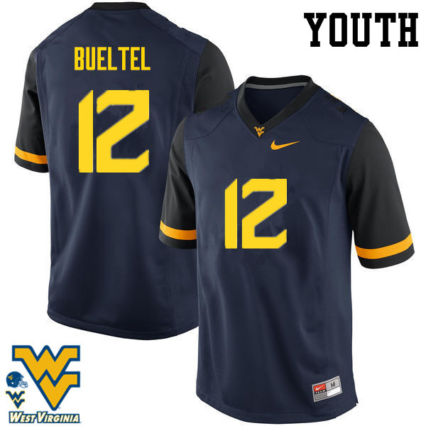 Youth #12 Jack Bueltel West Virginia Mountaineers College Football Jerseys-Navy