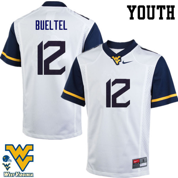 Youth #12 Jack Bueltel West Virginia Mountaineers College Football Jerseys-White