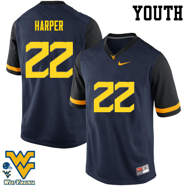Youth #22 Jarrod Harper West Virginia Mountaineers College Football Jerseys-Navy