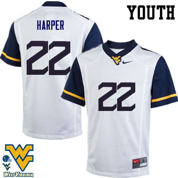 Youth #22 Jarrod Harper West Virginia Mountaineers College Football Jerseys-White