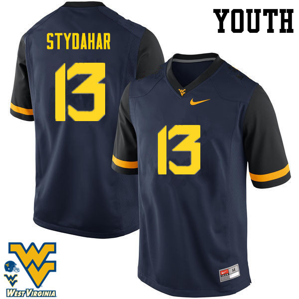 Youth #13 Joe Stydahar West Virginia Mountaineers College Football Jerseys-Navy