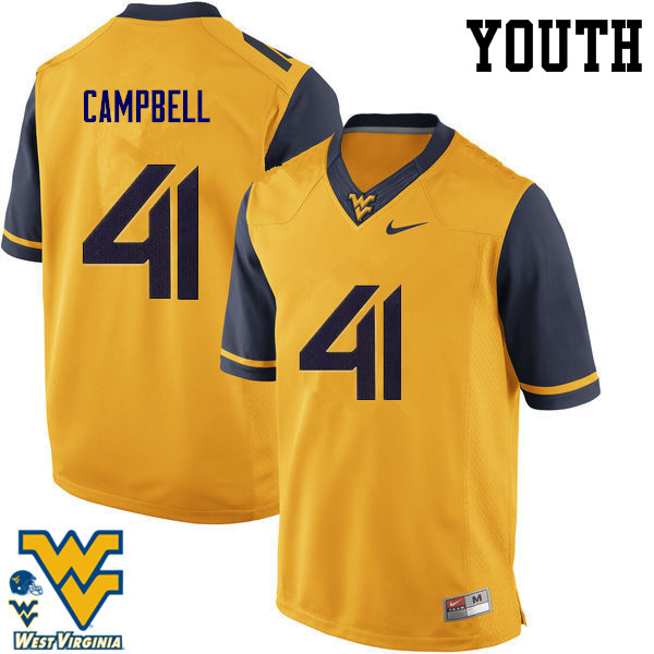 Youth #41 Jonah Campbell West Virginia Mountaineers College Football Jerseys-Gold