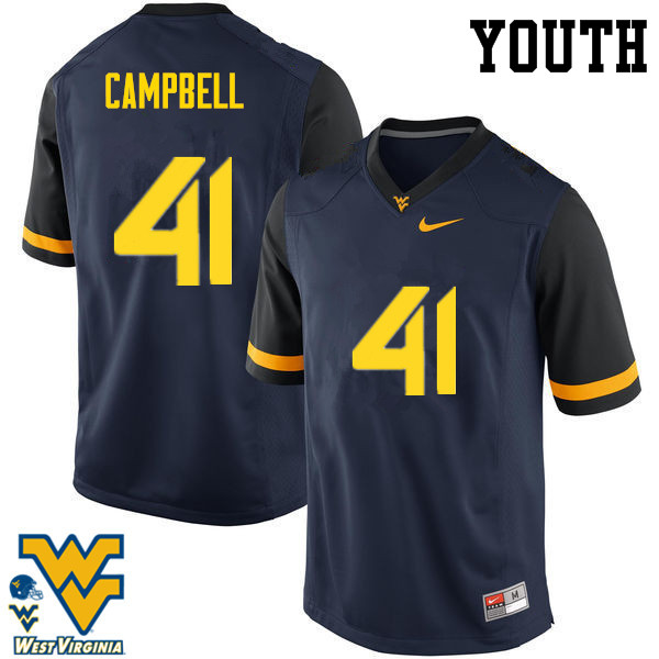 Youth #41 Jonah Campbell West Virginia Mountaineers College Football Jerseys-Navy