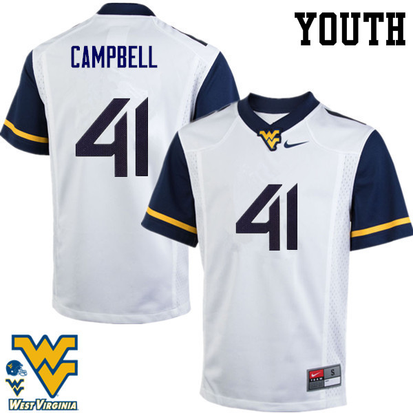 Youth #41 Jonah Campbell West Virginia Mountaineers College Football Jerseys-White