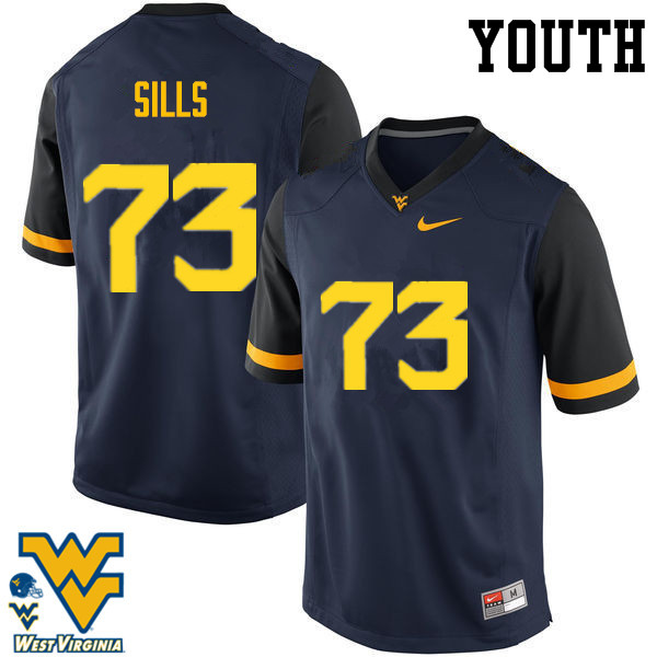 Youth #73 Josh Sills West Virginia Mountaineers College Football Jerseys-Navy