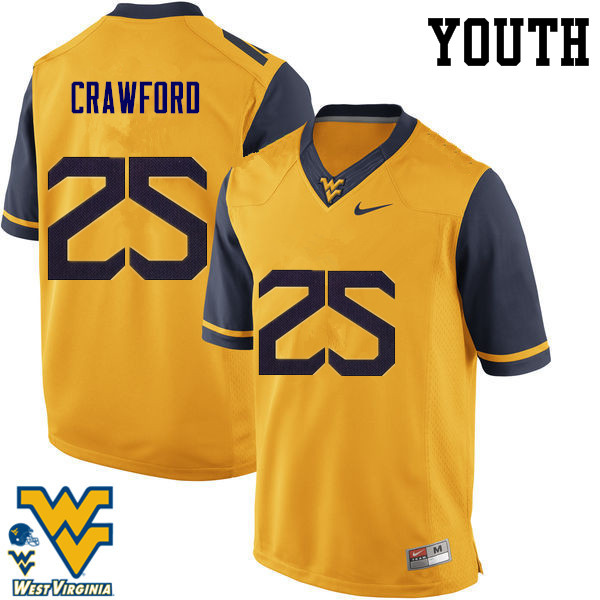 Youth #25 Justin Crawford West Virginia Mountaineers College Football Jerseys-Gold