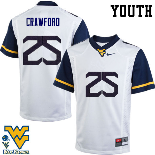 Youth #25 Justin Crawford West Virginia Mountaineers College Football Jerseys-White