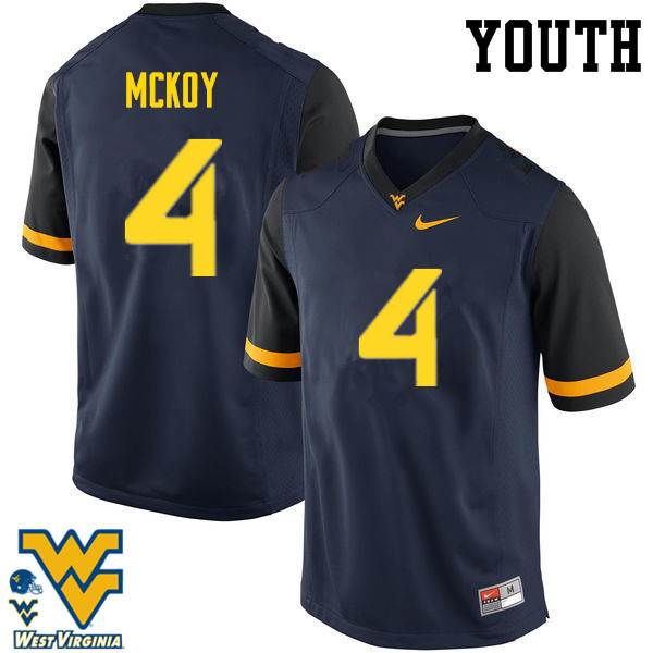 Youth #4 Kennedy McKoy West Virginia Mountaineers College Football Jerseys-Navy