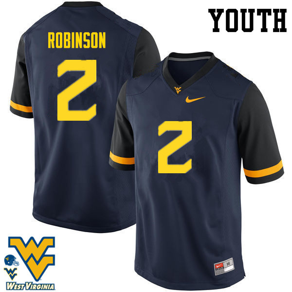 Youth #2 Kenny Robinson West Virginia Mountaineers College Football Jerseys-Navy