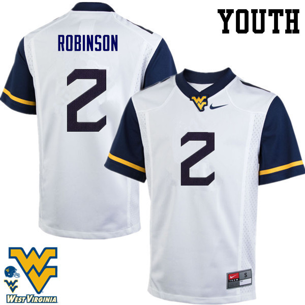 Youth #2 Kenny Robinson West Virginia Mountaineers College Football Jerseys-White