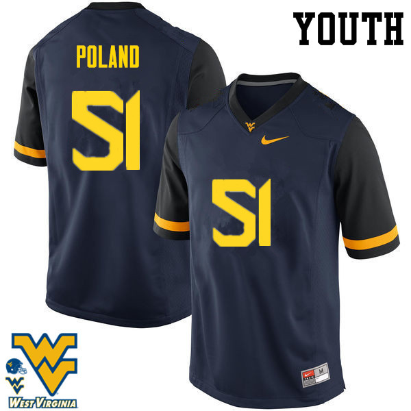 Youth #51 Kyle Poland West Virginia Mountaineers College Football Jerseys-Navy