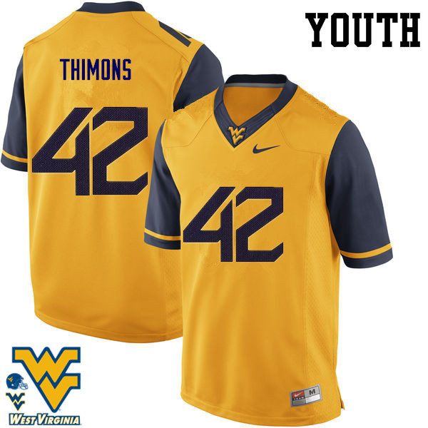 Youth #42 Logan Thimons West Virginia Mountaineers College Football Jerseys-Gold