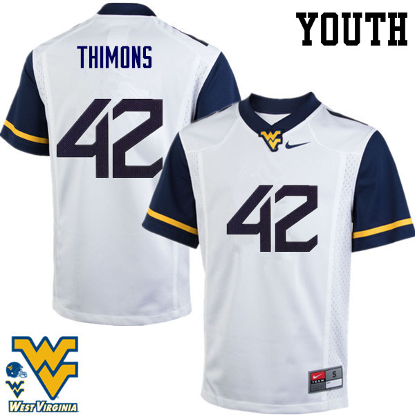 Youth #42 Logan Thimons West Virginia Mountaineers College Football Jerseys-White