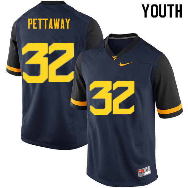 Youth #32 Martell Pettaway West Virginia Mountaineers College Football Jerseys Sale-Navy