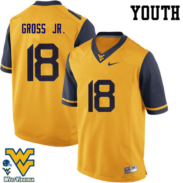Youth #18 Marvin Gross Jr. West Virginia Mountaineers College Football Jerseys-Gold