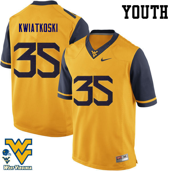 Youth #35 Nick Kwiatkoski West Virginia Mountaineers College Football Jerseys-Gold