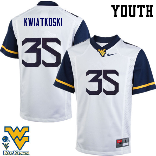 Youth #35 Nick Kwiatkoski West Virginia Mountaineers College Football Jerseys-White