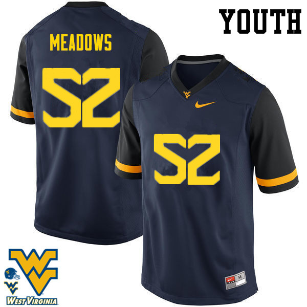 Youth #52 Nick Meadows West Virginia Mountaineers College Football Jerseys-Navy