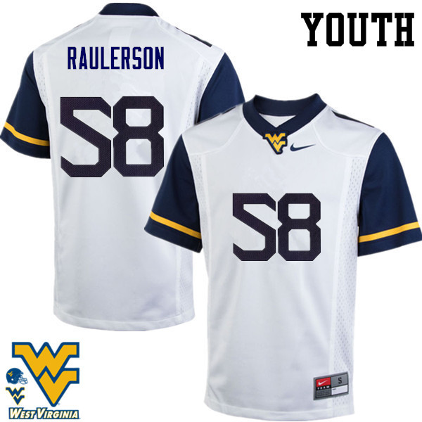 Youth #58 Ray Raulerson West Virginia Mountaineers College Football Jerseys-White