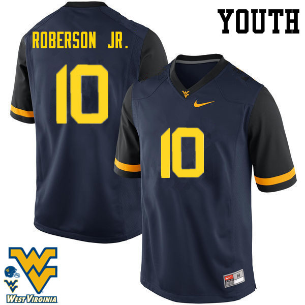 Youth #10 Reggie Roberson Jr. West Virginia Mountaineers College Football Jerseys-Navy