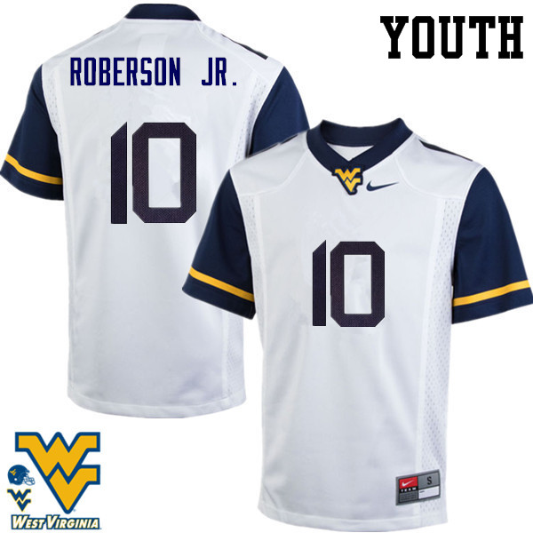 Youth #10 Reggie Roberson Jr. West Virginia Mountaineers College Football Jerseys-White
