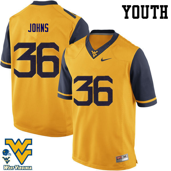 Youth #36 Ricky Johns West Virginia Mountaineers College Football Jerseys-Gold