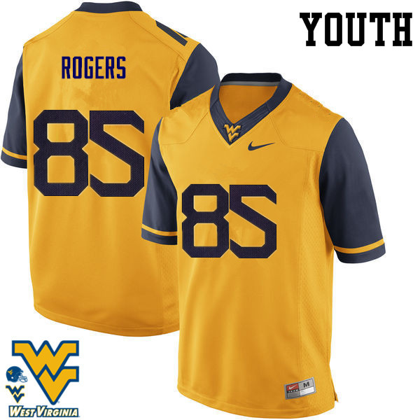 Youth #85 Ricky Rogers West Virginia Mountaineers College Football Jerseys-Gold