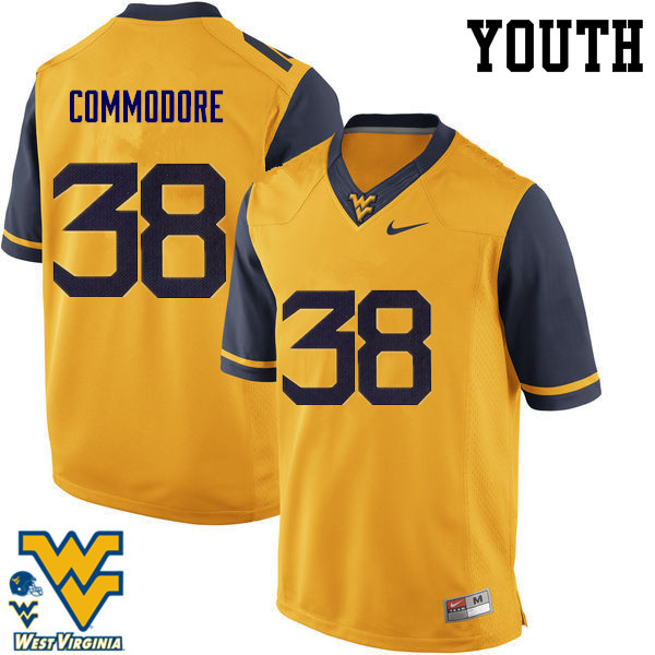 Youth #38 Shane Commodore West Virginia Mountaineers College Football Jerseys-Gold