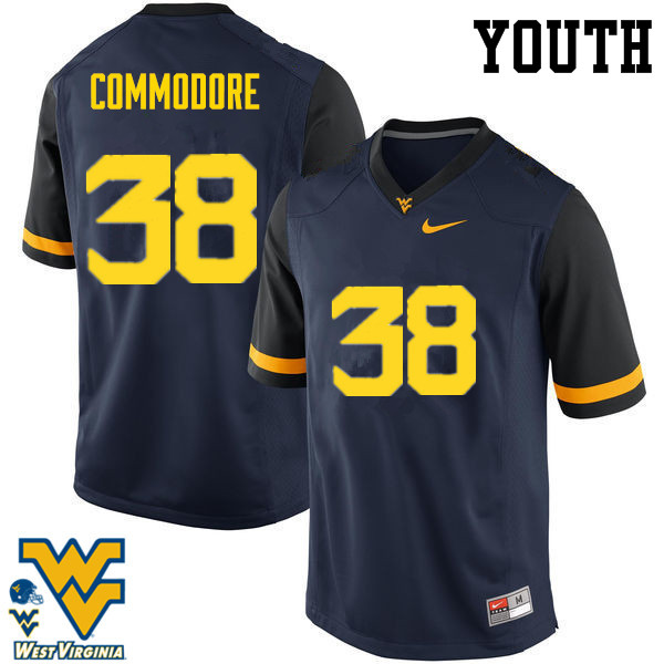 Youth #38 Shane Commodore West Virginia Mountaineers College Football Jerseys-Navy