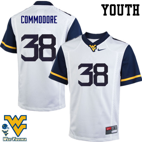 Youth #38 Shane Commodore West Virginia Mountaineers College Football Jerseys-White