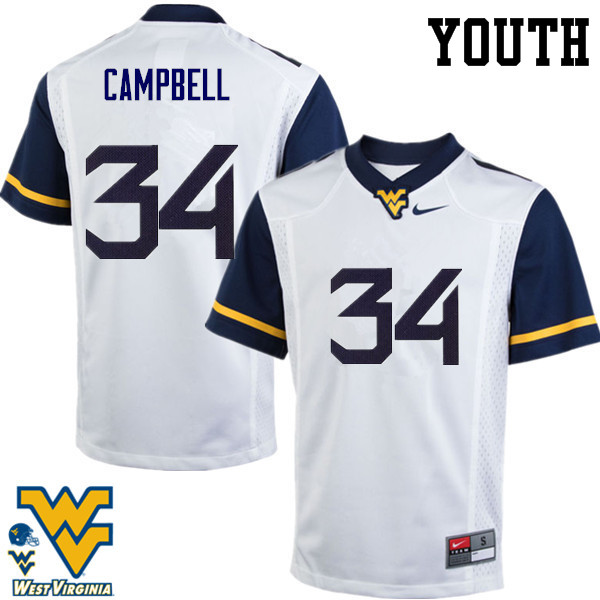 Youth #34 Shea Campbell West Virginia Mountaineers College Football Jerseys-White