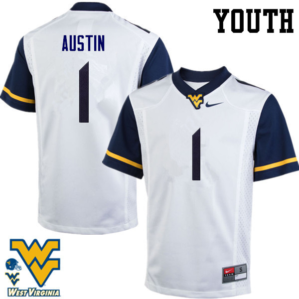 Youth #1 Tavon Austin West Virginia Mountaineers College Football Jerseys-White