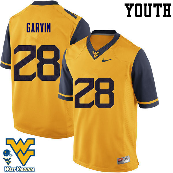 Youth #28 Terence Garvin West Virginia Mountaineers College Football Jerseys-Gold