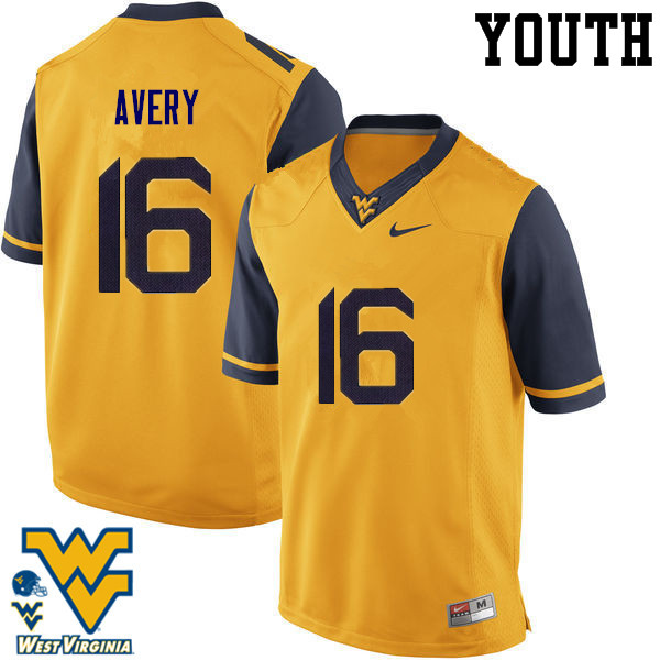 Youth #16 Toyous Avery West Virginia Mountaineers College Football Jerseys-Gold