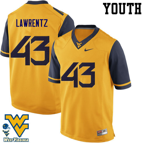 Youth #43 Tyler Lawrentz West Virginia Mountaineers College Football Jerseys-Gold