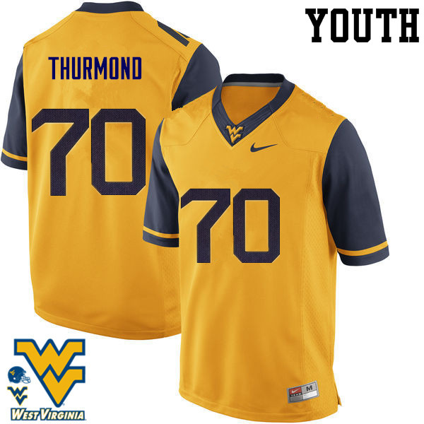 Youth #70 Tyler Thurmond West Virginia Mountaineers College Football Jerseys-Gold