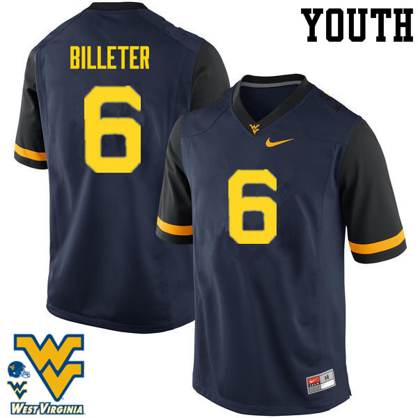 Youth #6 Will Billeter West Virginia Mountaineers College Football Jerseys-Navy