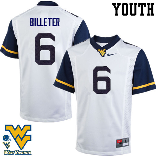 Youth #6 Will Billeter West Virginia Mountaineers College Football Jerseys-White