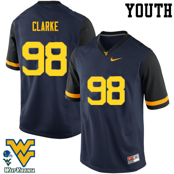 Youth #98 Will Clarke West Virginia Mountaineers College Football Jerseys-Navy